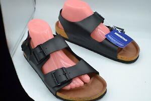 BIRKENSTOCK Milano Sz Women's 9/Men's 7 Blk Leather Footbed Sandal