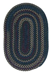 Midnight Indigo Variegated Wool Blend Country Farmhouse Oval Round Braided Rug