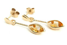 9ct Gold Citrine Drop Earrings marquise Made in UK Gift Boxed Birthday Gift