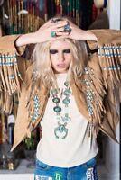 Women Western Jacket Fringes beads Ladies Suede Leather Jacket Native American