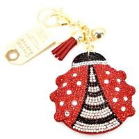 Pave Crystal Accent 3D Stuffed Pillow Ladybug Keychain Key Chain
