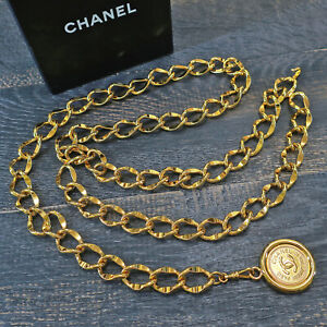 CHANEL Gold Plated CC Logos Medal Coin Charm Vintage Chain Belt #6697a Rise-on