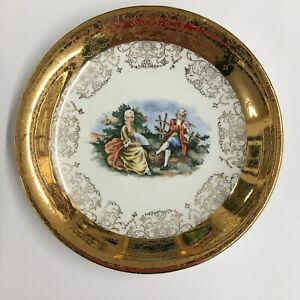 "Vintage Crest O Gold 22 K Courting Couple Saucer with Gold Floral Border 6 1/4"""