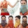 Belly Dance Costume Accessory Face Veil Golden Bead Sequins Wrap Scarf Dancewear