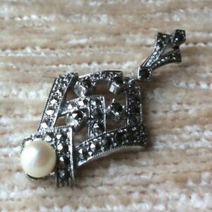 Anhänger Silber 835 Art Deco Markasiten Perle