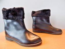 Vintage 1950 60s Black Winter Boots Ankle Boho Retro Snow Mod Rockabilly Pixie