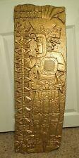Vintage 1970's Syroco Aztez Mayan Warrior Gold Tone Plastic Wall Art
