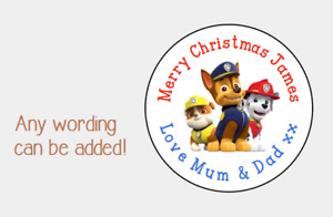 PERSONALISED STICKERS LABELS TAGS CIRCLE CHRISTMAS PRESNTS PAW PATROL CHASE MARS