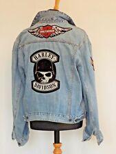 Men's Denim Biker Jacket with Genuine Harley Davidson Sewn on Patches