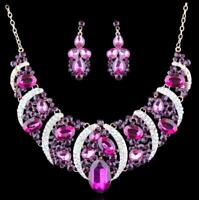 Purple cz Wedding Pageant Rhinestone Crystal Formal Necklace Jewelry Set Earring
