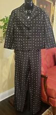 Barry Bricken Black Polka Dotted Silk Size 6 Two Piece Pantsuit