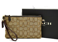 Coach Signature Jacquard Boxed Small Wristlet Wallet Brown 37385B