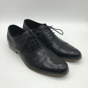 Next Hell for Leather Mens Black Leather Oxford Brogue Shoes UK 9 EUR 43