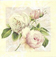 2 Serviettes en papier Fleur Rose sauvage Paper Napkins Cottage Rose Flower