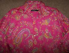 NWT Ralph Lauren Pink FLORAL PAISLEY Sleep Shirt Nightgown Gown S Green/Yellow