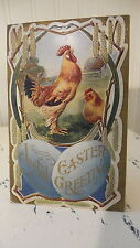 Antique EASTER POSTCARD EASTER ROOSTER, Joyful Easter Greeting