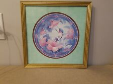 Hummingbird Picture by Carolyn Shores Wright Gold Frame Flowers Green Mat