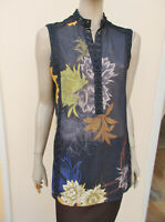 Next - Womens Navy / Yellow Mix Floral Semi Sheer Tunic Top - size 14
