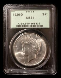 UNITED STATES 1926-D PEACE SILVER DOLLAR COIN - PCGS MS64 - NO RESERVE !!