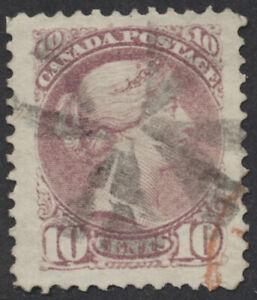 Canada #40a 10c Small Queen, Magenta Shade, Perf 12, Used Jumbo, Cork Cancel