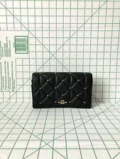 Coach F38630 Fold-over Quilted Studs Detachable Clutch Crossbody Bag in Black