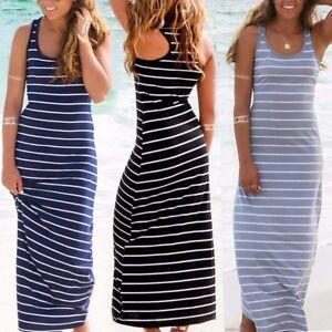 New Fashion Women Summer Boho Stripe Long Maxi Dress Evening Party Beach Dress