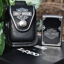 Zippo Lighter - Harley Davidson HDPBK Belt Pouch Case - Carbon Fiber # 28264