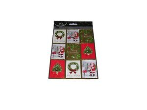 Christmas Gift Tags Traditional Cute Tie Stringed 36 Pack Selection Assorted