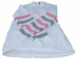 Equetech Cross Country Colours Ladies White with grey & pink stripes XS Equetech