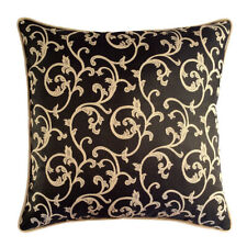 "Satin Textured Ivy Pattern Black Cream 20""x20"" Decorative Pillow Cover Case Sham"
