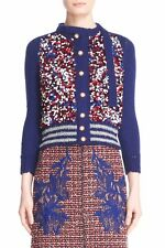 NWT $1600 Marc Jacobs Embellished Tie Neck Wool Blend Cardigan Red Blue Small S