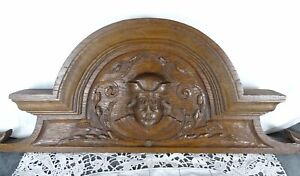 """26"""" French Antique Pediment -Crest In Solid Oak Wood Salvage - Man's Face"""