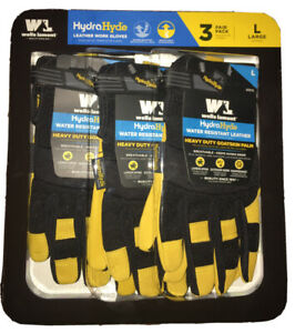 Wells Lamont Men's HydraHyde Leather Large Work Gloves, 3-Pairs NEW Value Pack