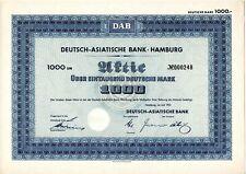 DM-Aktie Deutsch-Asiatische-Bank 1000 DM von 1953  Unentwertet mit Kupons