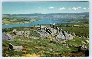 WENATCHEE VALLEY, WA ~ Beautiful Panorama ~ LAKE Chelan County c1940s Postcard