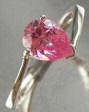 Sterling Silver and pink CZ Cubic Zircon Ring US Size 7 3/4