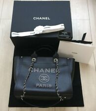CHANEL Deauville Tote Chain Shoulder Bag Black Calf Skin Woman Auth New Unused