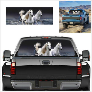 135x36cm White Horse Tint Graphic Sticker Fit For Car SUV Rear Windshield Decor