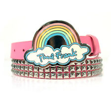 PAUL FRANK Hot Topic Studded Pink Belt Rainbow Buckle Womens' 34