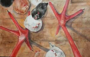 Vintage surrealist watercolor painting hens