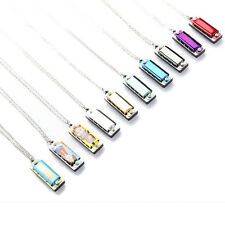 1x Trendy Mini Brand New Metal Harmonica 4 Hole 8 Tone Necklace Silver*v*