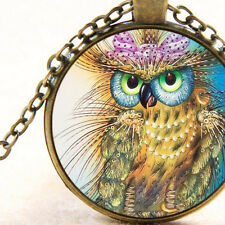 New Lady Owl with Pink Bow and Necklace, Christmas Gift, Bird Pendant Jewellery