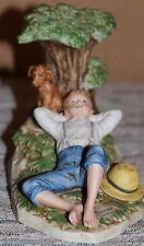 """Norman Rockwell figurine """"Spring Fever"""" Coa original packaging Boy and Dog Tree"""