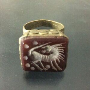 Authenic ISLAMIC Ring Bronze Muslim Allah Persian Antique Amulet Rare Ancient S8