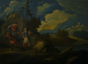 1740 Antique French Old Master Oil Painting on Canvas, Suiveur de Vernet