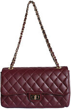 DESIGNER ITALIAN BURGUNDY REAL GENUINE QUILTED LEATHER CHAIN HANDBAG CLUTCH BAG