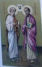 SAINTS PETER & PAUL  - VINTAGE HOLY PRAYER BOOK CARD -  ORTHODOX INCENSE CHURCH