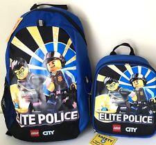 """Lego 16"""" Backpack & Lunch Box Bag City Elite Police Bag  School Travel Blue Set"""