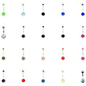 Double Jewelled 10mm Surgical Steel Belly Bar MORE COLOURS AVAILABLE