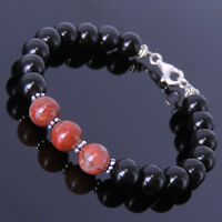 Root Chakra Activation Handmade Bracelet Black Obsidian Jasper Sterling Silver